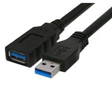 USB forlængerkabel, type A t/Quick ID, sort, 3m