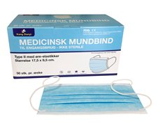 Mundbind type II, m/elastik, blå, 50stk